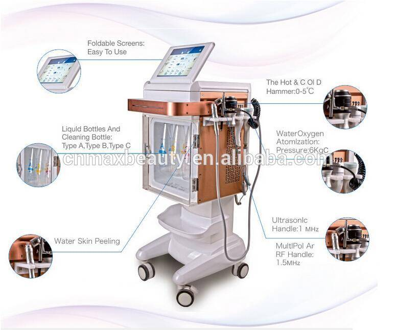 Korea design 6 in 1 multifunctional beauty machine hydr spray RF cool hammer ultrasonic for skin rejuvenation