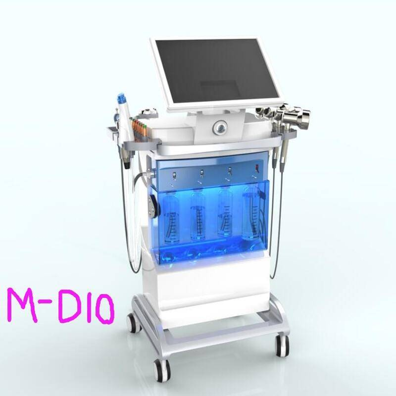 6 in 1 facial skin cleaning machine with 2 water dermabrasion handle+ 1 Oxygen spray +4 LED heads+BIO+skin scrubber-M-D10