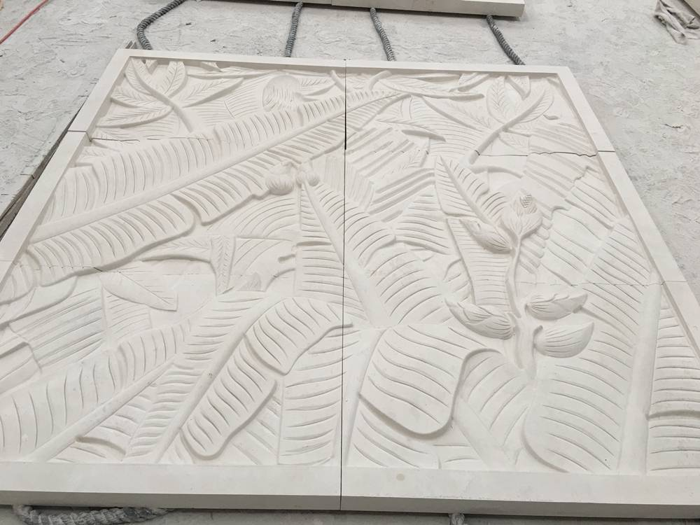 Champagne beige limestone carving wall
