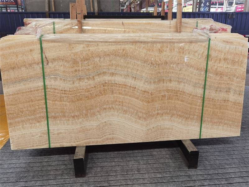 Natural backlit honey onyx slab
