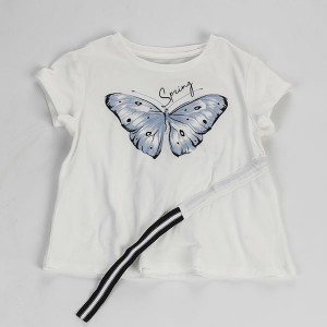 Barn Kids Jente casual klær Cotton Summer T Shirt-001