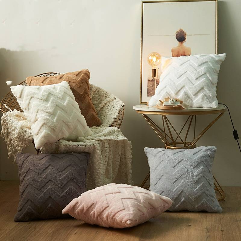 Decorative warm faux fur embroidery pillow