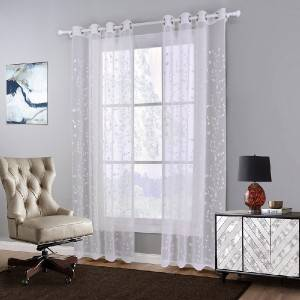 Whole polyester leaf embroidery yarn suits the sitting room bedroom/Curtain Series-sheer-201212
