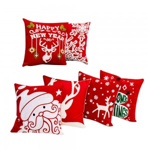 Christmas series, canvas wool embroidered cushion cover/Embroidery Pillow-7646