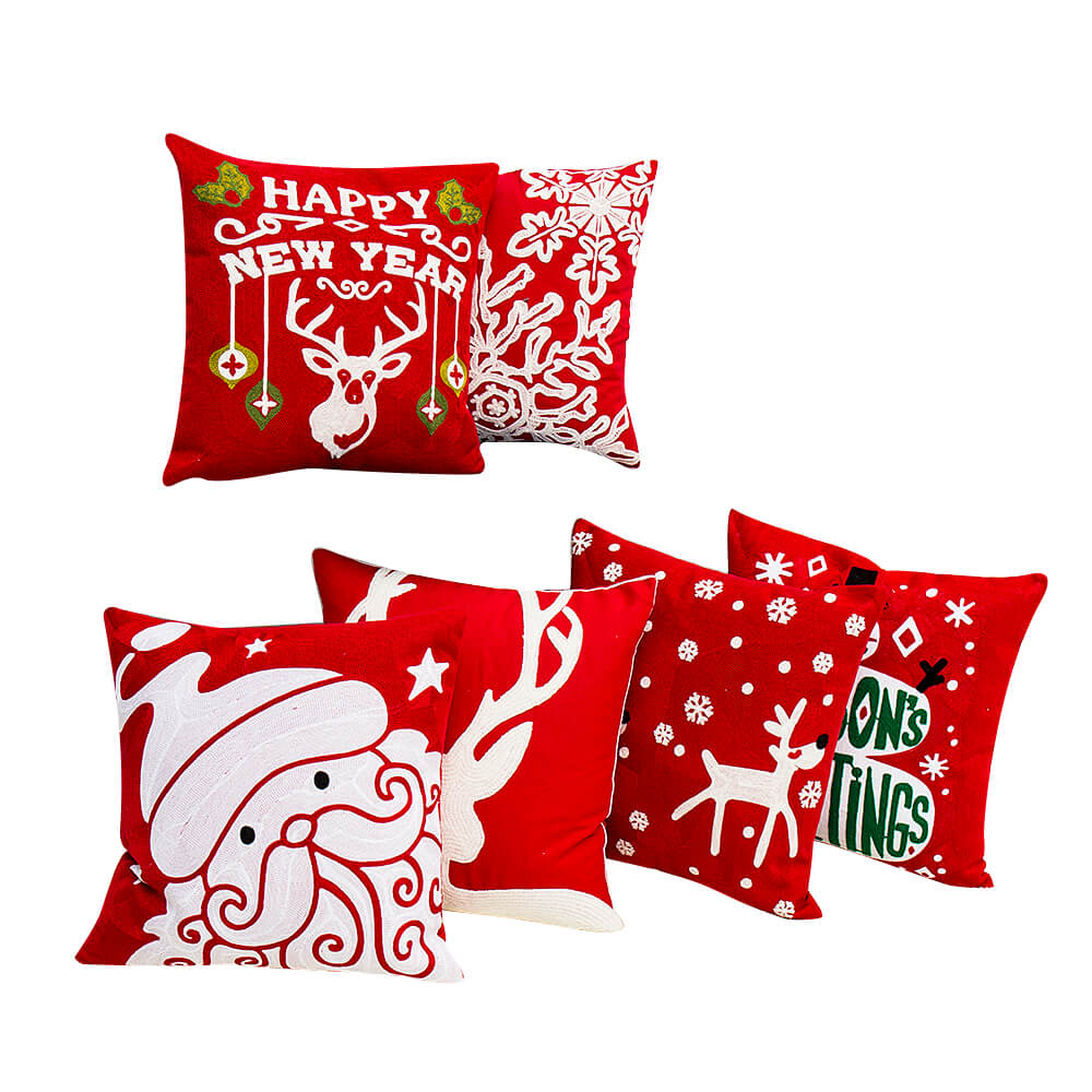 Christmas series, canvas wool embroidered cushion cover/Embroidery Pillow-7646 Featured Image