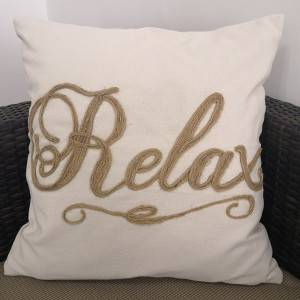 Canvas embroidered cushion cover/Embroidery Pillow HS21260