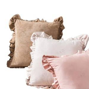 18″*18″ plain plate peach skin fleece and flounce side design cushion cover/pillow cover/Pillow Series-HS21432