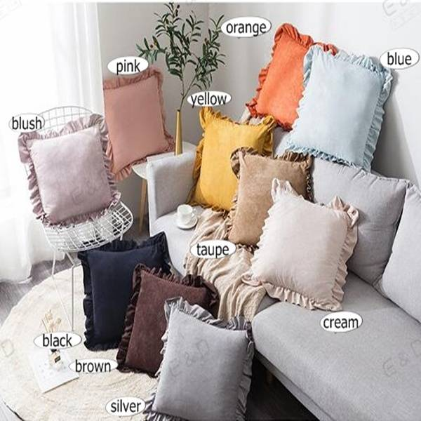18″*18″ plain plate peach skin fleece and flounce side design cushion cover/pillow cover/Pillow Series-HS21432 Featured Image