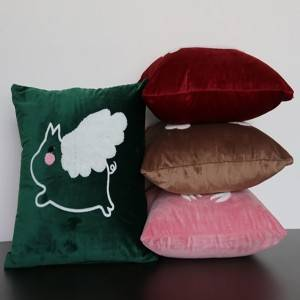 velvet embroidered flower cushion, pillow/Pillow Series-HS21497