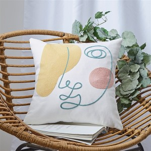 New 18″*18″  Face embroidery pillow case with towel embroidery chain embroidery pillow case/embroidery pillow-HS21524
