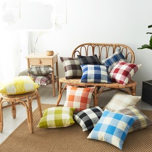 18″*18″ Yarn-dyed cotton linen check pillow/pillow cover-HS11534