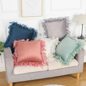 Popular velvet pillowcase with large feather in solid color, home pillow cushion-Pillow Series-HS21563