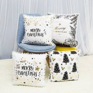 Christmas series/short plush hot gold printing/Pillow Series-XUE_7504