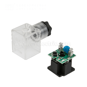DIN 43650A  Solenoid valve connector half-wavw rectifier output about 50%input +diode protection+LED +VDR