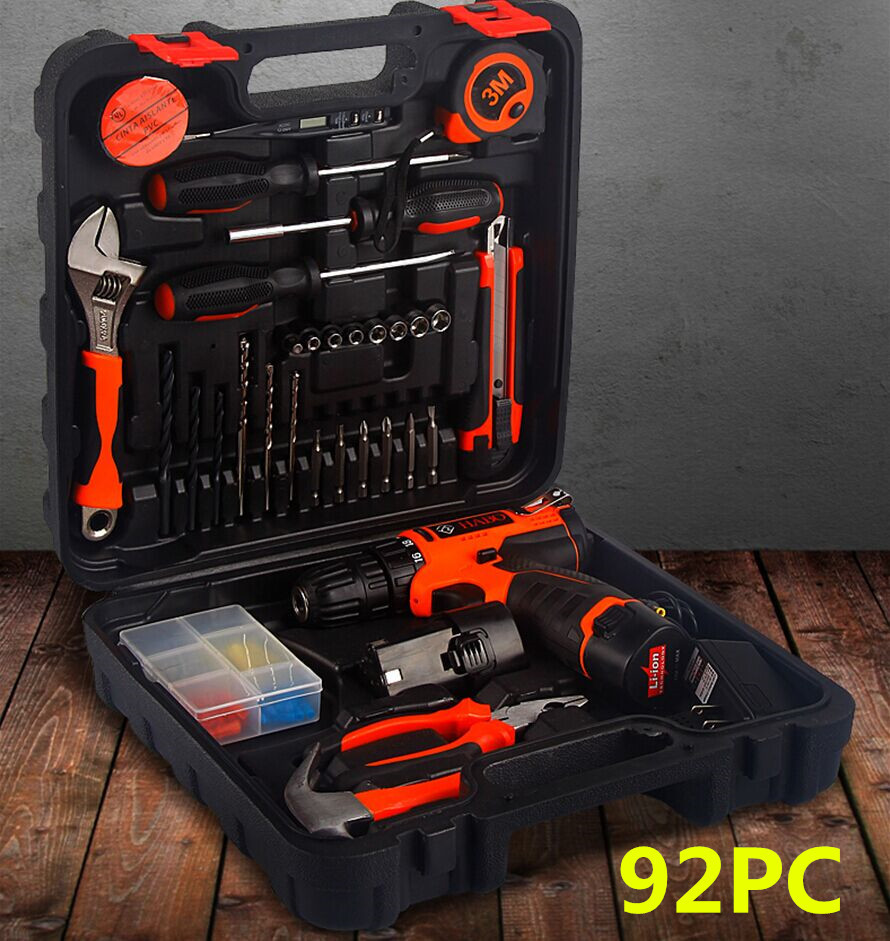 92pcs Lithium battery rechargeable impact drill set automatic electric screwdriver hardware kit set