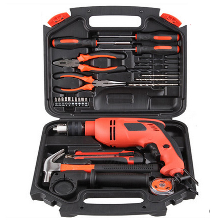 26pcs gift combination set toolbox multi-functional hardware kit impact electric drill household electric tools set