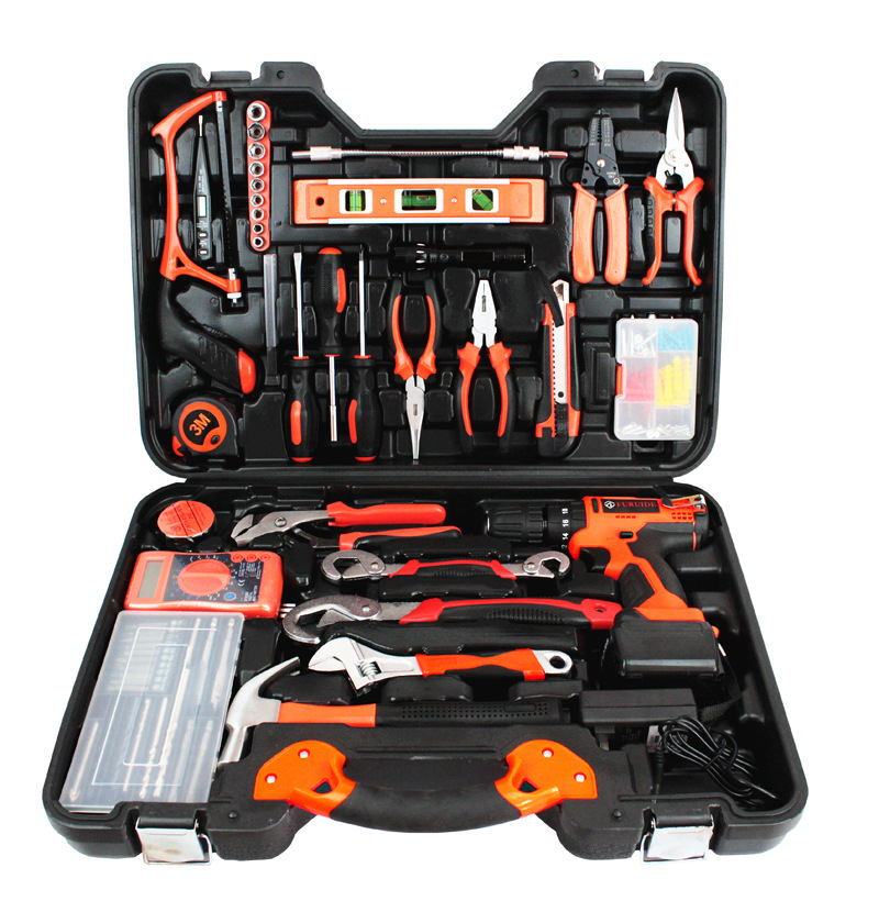 128 pieces hardware tool combination set lithium battery electric drill set electric screwdriver woodworking manual toolbox