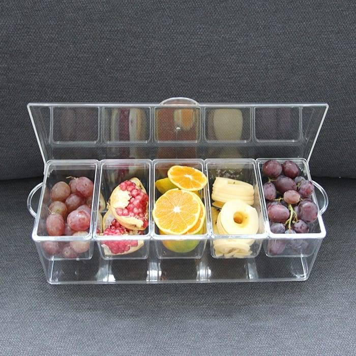 5 Compartment Bar Clear Condiment Jar Plastic Serving Ice Chilled Condiment Tray