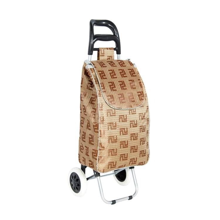 Foldable metal shopping trolley with shopping bag