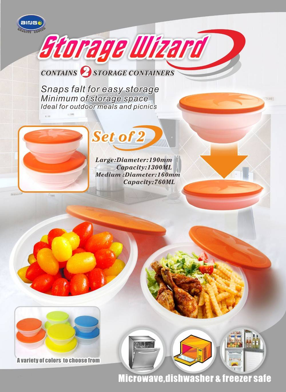 Plastic Storage Wizard Folding Bowl