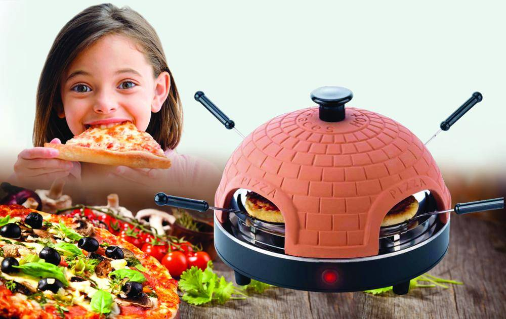 authentic clay 4 persons pizza fondue
