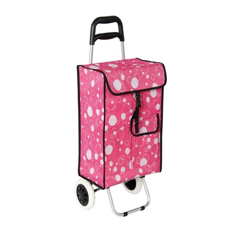 Shopping Cart With Fold Lightweight 2 Wheel Large Capacity Shopping Trolley Bag Dot Design Portable Multifunctional Luggage Cart Featured Image