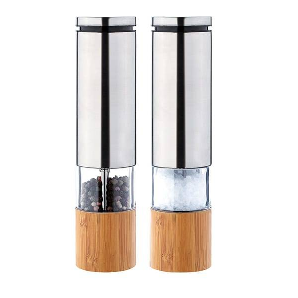 Stainless Steel Bamboo One Handed Salt & Pepper mill 9528B Electric Salt Mill