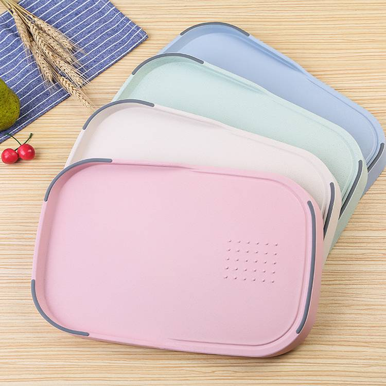 Rectangle Unique Multi-Functional Lightweight Wheat Straw Chopper Plastic Cutting Board