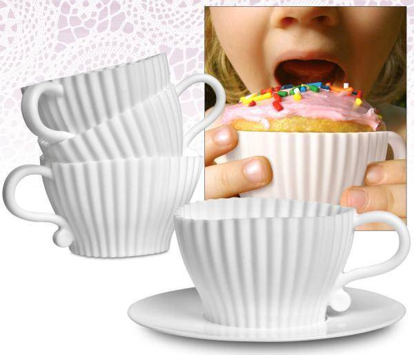 Afternoon Tea Cupcakes Cake Tools Sets 8pcs Silicone Silicone Mould Bake & Serve (4 Moulds+ 4 Saucers)
