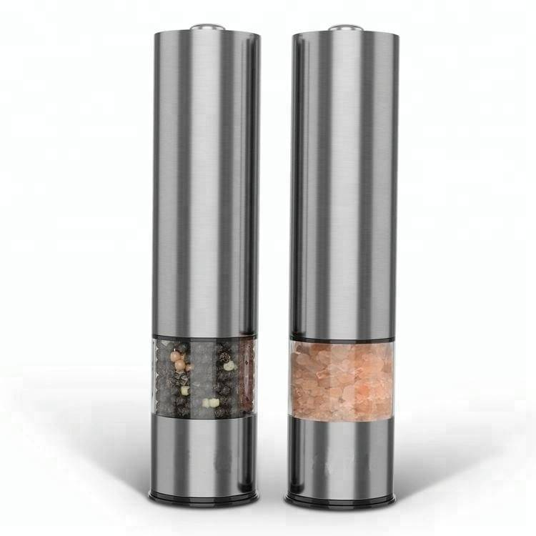 Battery Powered One Touch Function Stainless Steel Electric Salt Pepper Grinder Featured Image