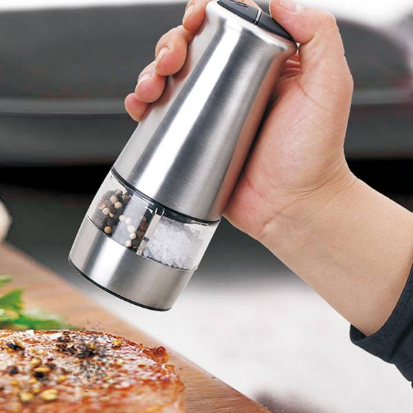 Stainless steel with  2 in 1 electric salt and pepper mill