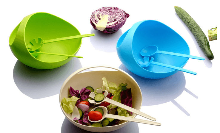 2018 New Style Colorful Food Grade Plastic Material Convenient Salad Bowl With Fork & Spoon Set Kitchen Tools Gooder Helper
