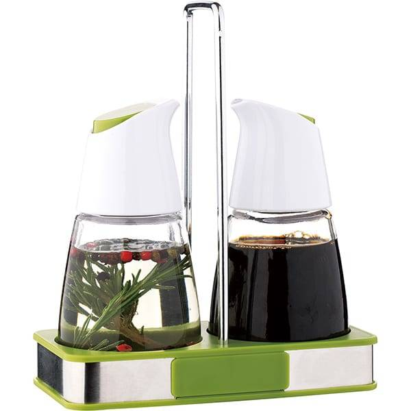 High Quality Olive Oil and Vinegar Dispenser Bottle Set With Stand