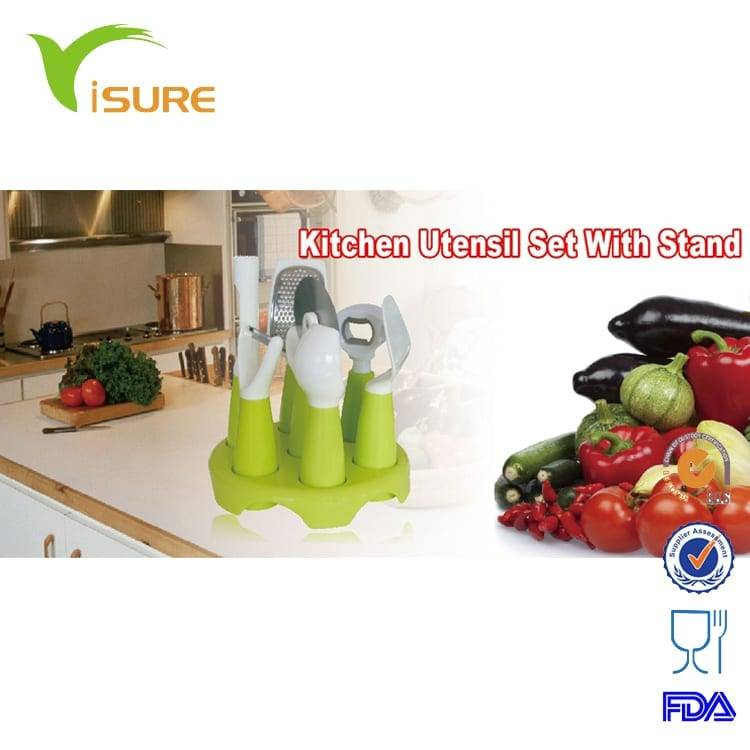 Hot sell colour kitchen utensil set with stand