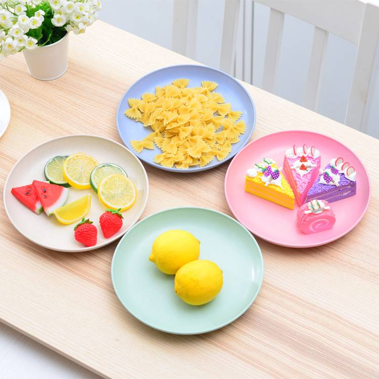 Set of 4 Color Break-Resistant Dish Tableware Natural Wheat Straw Plates Set for Fruit Snacks Food