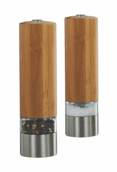 Bottom price automatic electric salt and pepper mill 9511 Bamboo Electric Salt and Pepper Mills