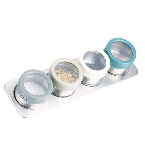 4pc Brushed Chrome Stainless Steel Magnetic Spice Jar Set With Stand Herbs Spice Jack With Standing