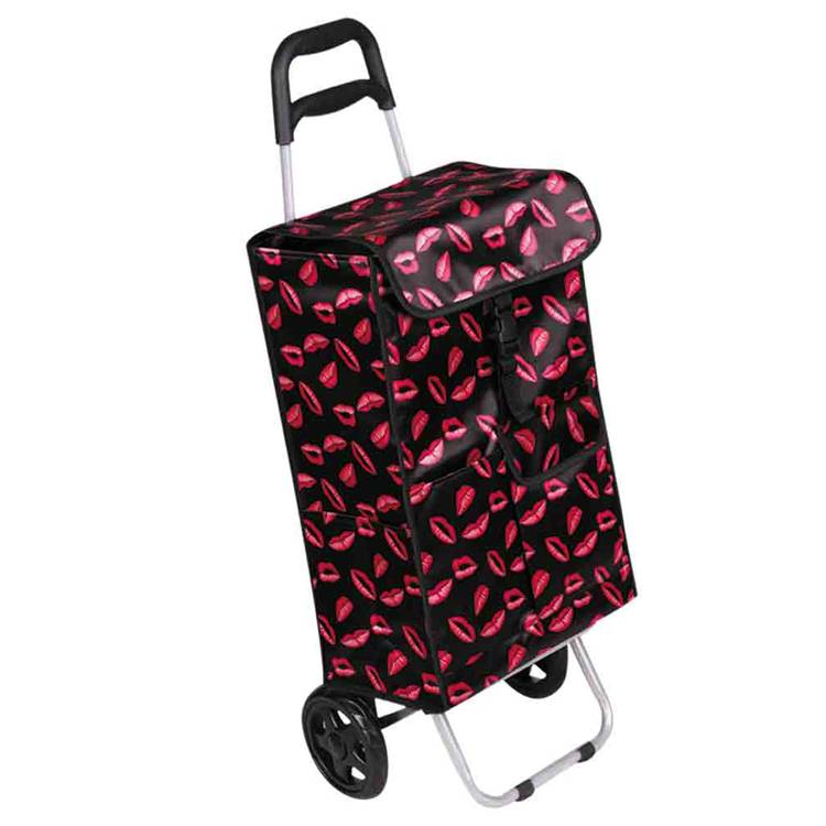 Shopping Cart With Fold Lightweight 2 Wheel Large Capacity Shopping Trolley Bag Dot Design Portable Multifunctional Luggage Cart