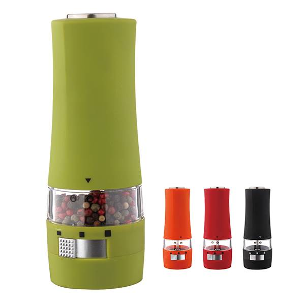 Rubber coating electric salt and pepper mill with led lights