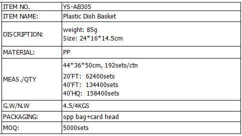 Assembly Basket Dish Basket Plastic Dish & Plate Storage Basket