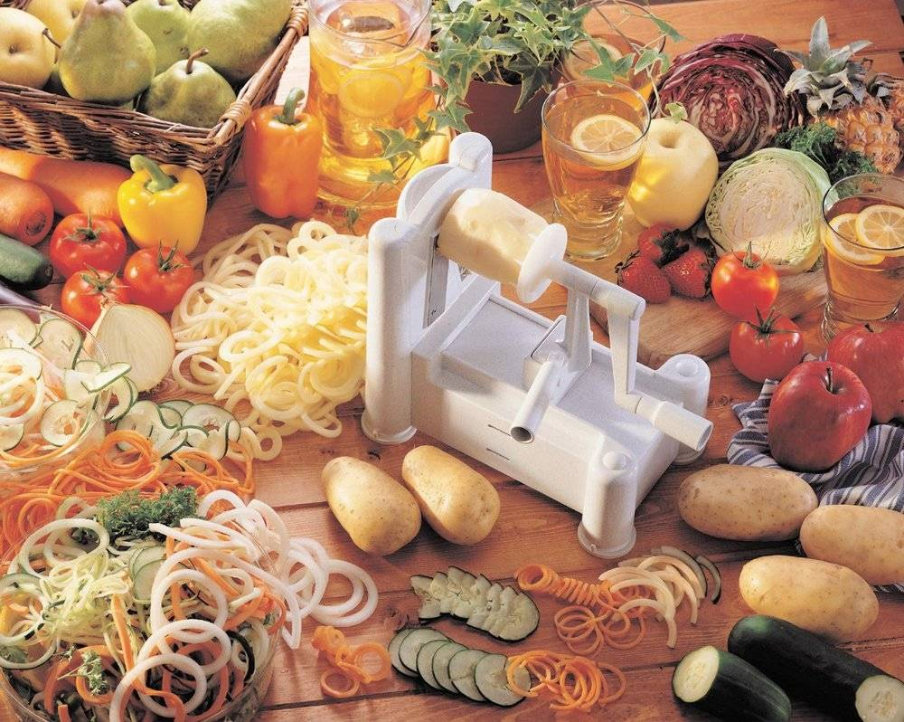 3 in 1 Spiral Slicer Vegetable Cutter Spiral Manual Fruit Chopper Graters