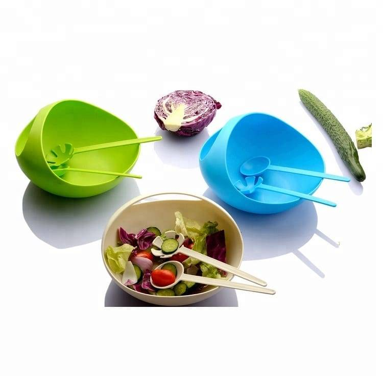 Colorful Food Grade Plastic Salad Bowl With Fork Spoon Set Kitchen Tools