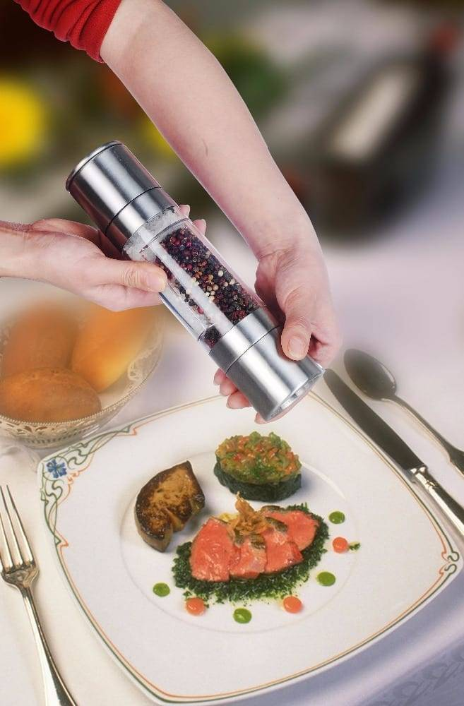 Nickel Plated Steel Strip Wooden Salt And Pepper Mill Set -