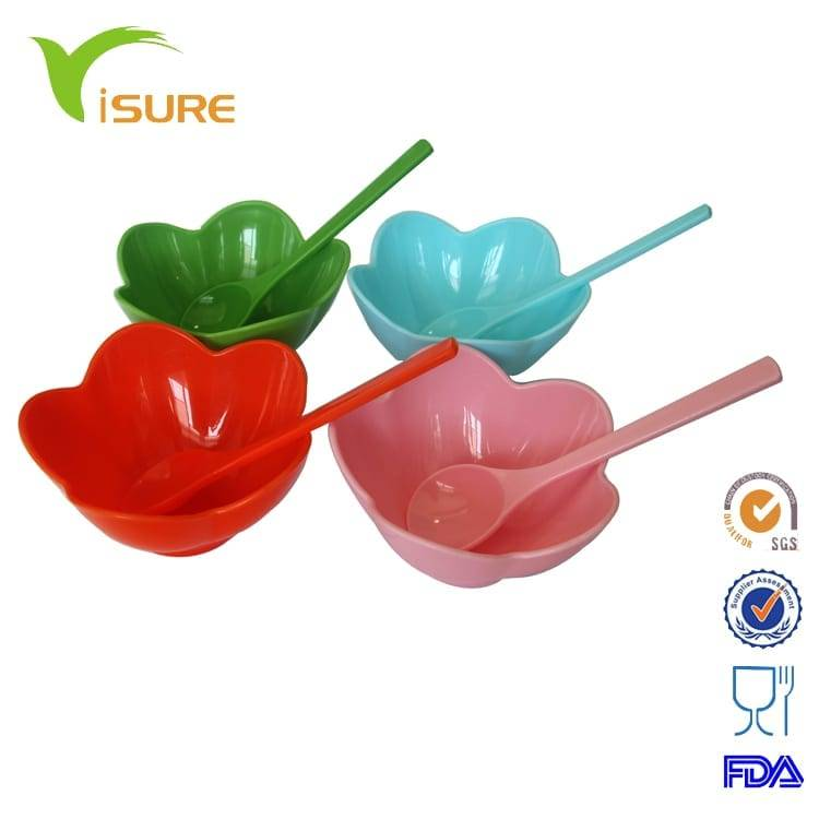 Plastic Ice Cream Bowl with spoon set