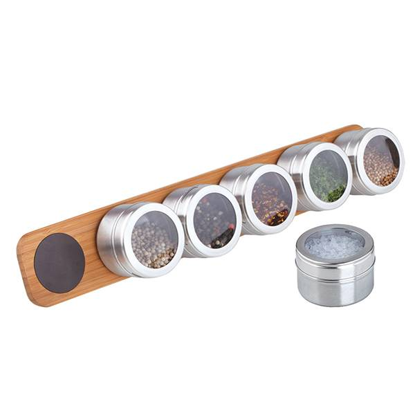 Stainless Steel Magnetic Spice Jar Set Salt and Pepper Shaker Jack Set With Wooden Stand