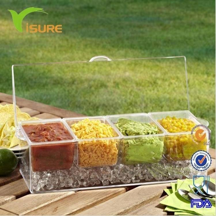 4 Compartments Transparent Plastic Chilled Condiment Server Container Food Container