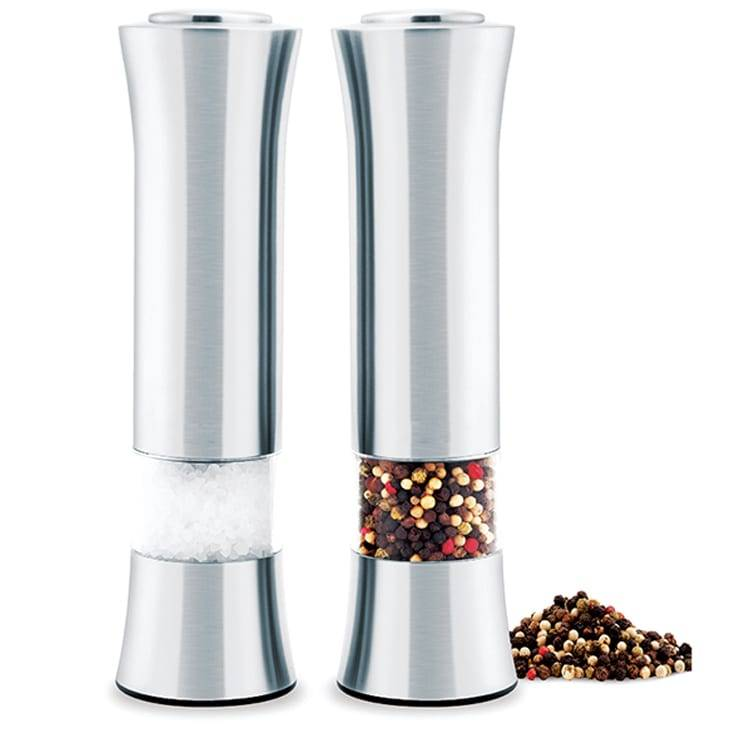 Electric Stainless Steel Salt uye Pepper Mills nechiedza