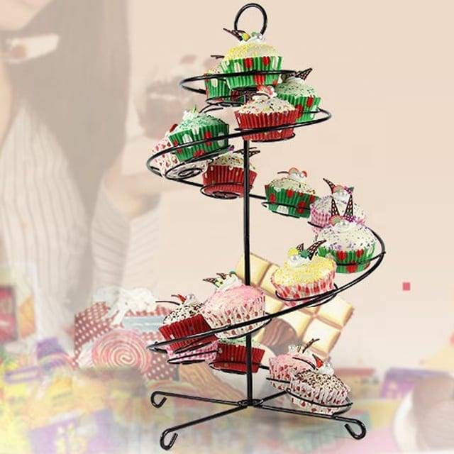 Iron Steel Spiral staircase Cupcake Stand for 19 cupcakes