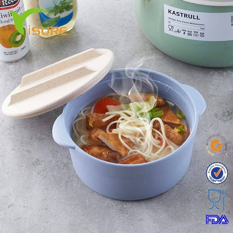 450ml Disposable Wheat Straw Plastic Noodle Bowl Colorful Plastic Bowl with Straw Wheat Fiber with lid