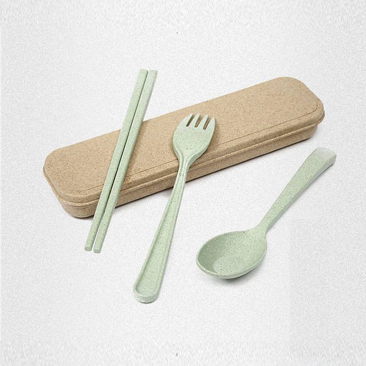 Custom Wheat Straw Spoon Fork Chopsticks Portable Cutlery Set with Case for Travel